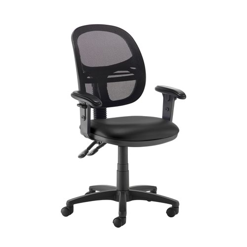 Jota Mesh medium back operators chair with adjustable arms - Nero Black vinyl