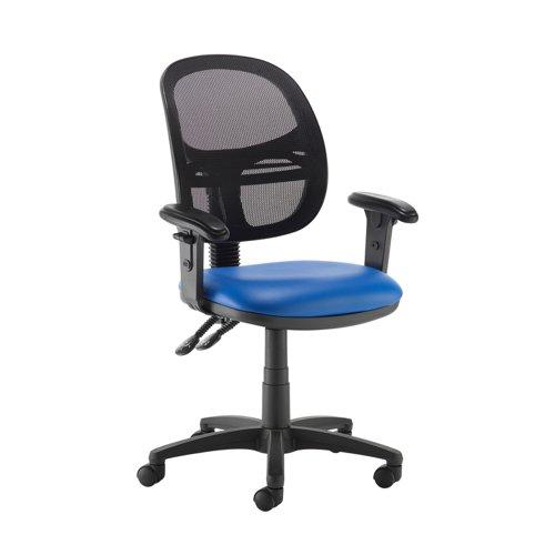Jota Mesh medium back operators chair with adjustable arms - Ocean Blue vinyl