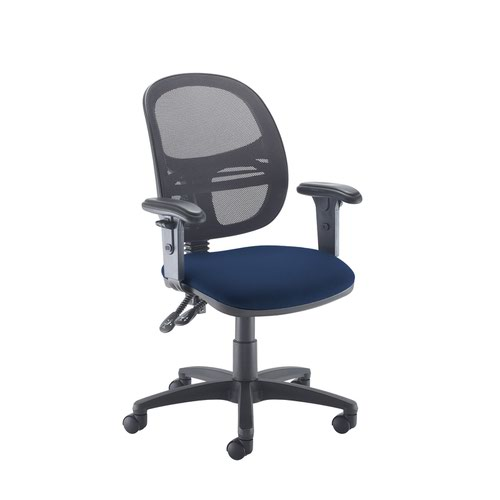 Jota Mesh medium back operators chair with adjustable arms - Costa Blue