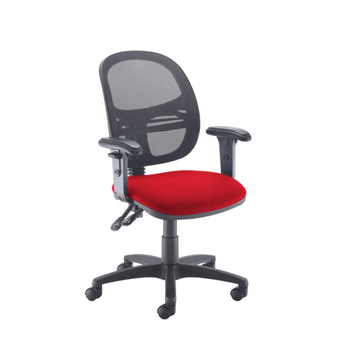 Jota Mesh medium back operators chair with adjustable arms - Panama Red