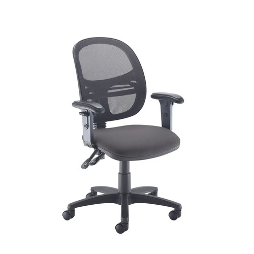 Jota Mesh medium back operators chair with adjustable arms - Blizzard Grey