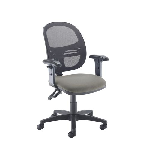 Jota Mesh medium back operators chair with adjustable arms - Slip Grey