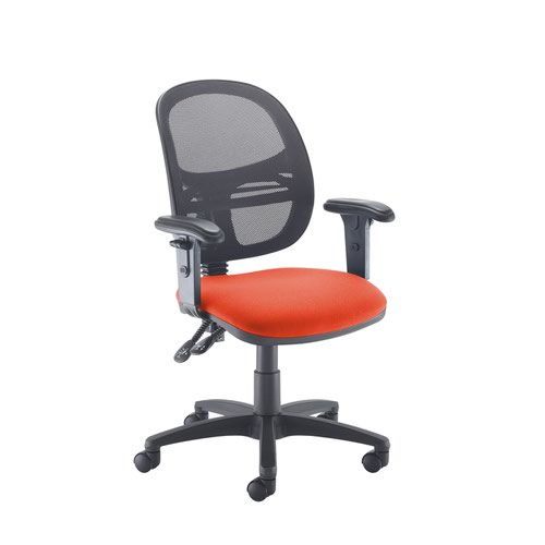 Jota Mesh medium back operators chair with adjustable arms - Tortuga Orange