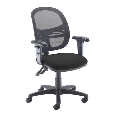 Jota Mesh medium back operators chair with adjustable arms - black