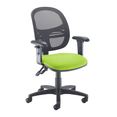 Jota Mesh medium back operators chair with adjustable arms - green