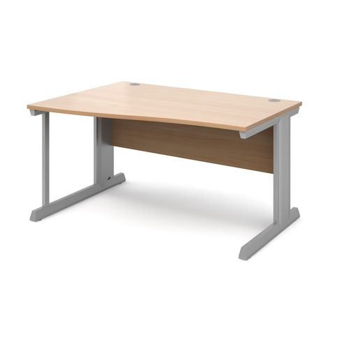 Vivo left hand wave desk 1400mm - silver frame and beech top