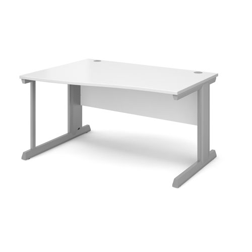 Vivo left hand wave desk 1400mm - silver frame and white top