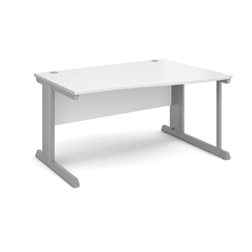 Vivo right hand wave desk 1400mm - silver frame and white top