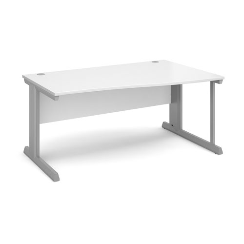Vivo right hand wave desk 1600mm - silver frame and white top
