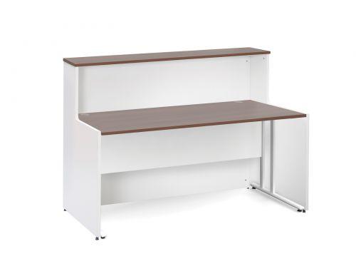 Welcome Maestro 25 Reception Desk 1462x890mm White Body/Walnut Top WD2514W