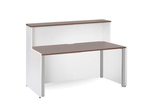 Welcome Adapt Reception Desk 1462x890mm White Body/Walnut Top WDAD14W