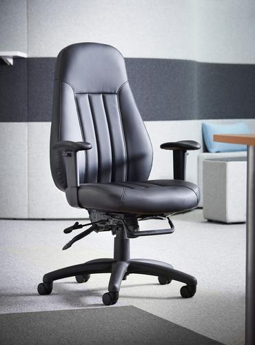 Zeus medium back 24hr task chair - black faux leather Office Chairs ZEU200K2