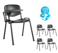 Taurus plastic meeting room chair (box of 4) with writing tablet - black with black frame