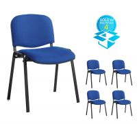 Taurus meeting room stackable chair (box of 4) with black frame and no arms - blue