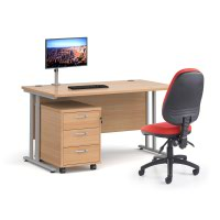 Bundle deal - Maestro 25 straight 1400mm desk in oak with silver frame/ 3 drawer pedestal/ Luna silver monitor arm and Vantage V100 chair in red
