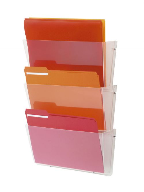 Literature Display Wall Pockets Landscape A4 Crystal [Pack 3]