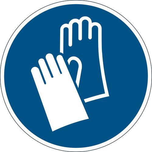 Durable Removable Floor Sticker 'Use Protective Gloves' - dia 430mm Pack of 5