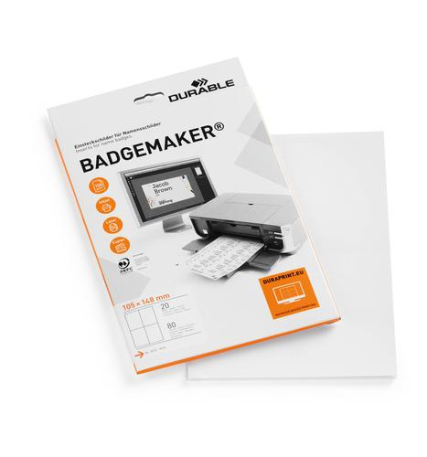 Durable BADGEMAKER® A6 Printable Inserts for Event Badges Pack of 20