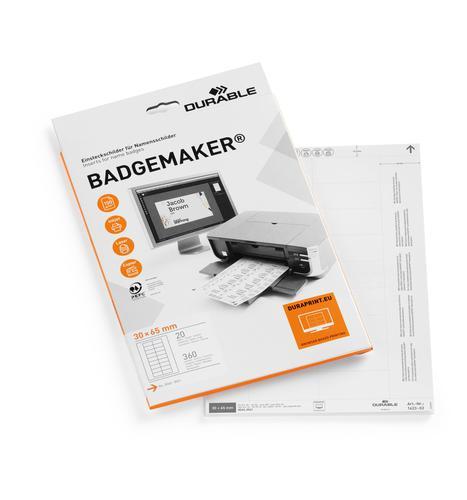 Durable Inserts for Duraprint Badgemaker 30x65mm 142302 [Pack 360]