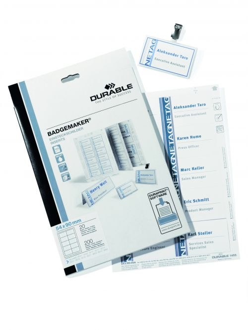 Durable Badgemaker Inserts 150gsm 54x90mm 1455 (200 Inserts)