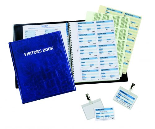 DURABLE Visitor Book 100 60x90mm Name Badge Inserts Leather Look Dark Blue