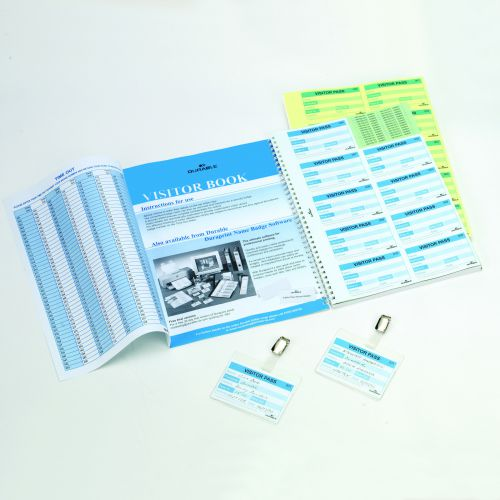 Durable Visitors Book Refill of 100 Duplicate Carbonless Badge Inserts W90xH60mm Ref 1464-65