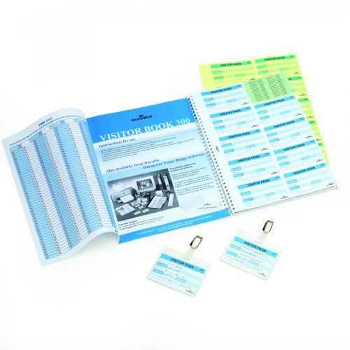 Durable Visitors Book Refill of 300 Duplicate Carbonless Badge Inserts W90xH60mm Ref 1466/00