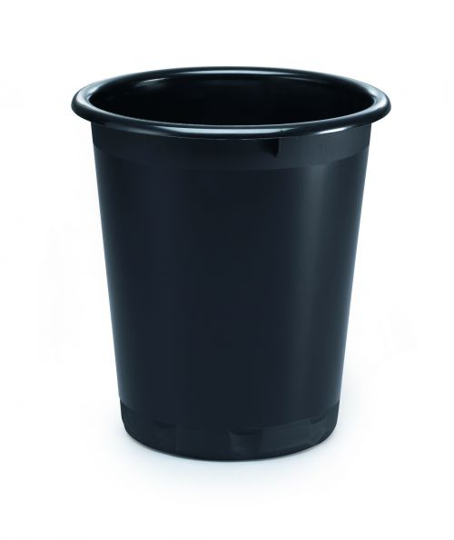 Durable Waste Basket 13 Litre Recycled Black Pack of 6