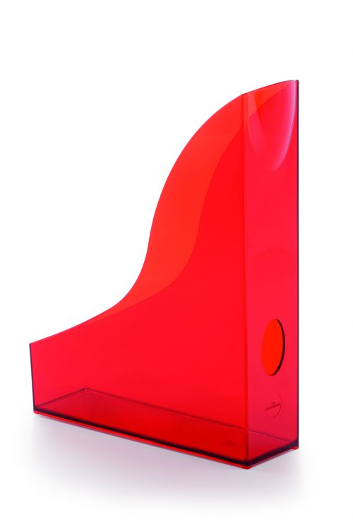 Durable Magazine Rack Basic Transparent Red Pack of 6