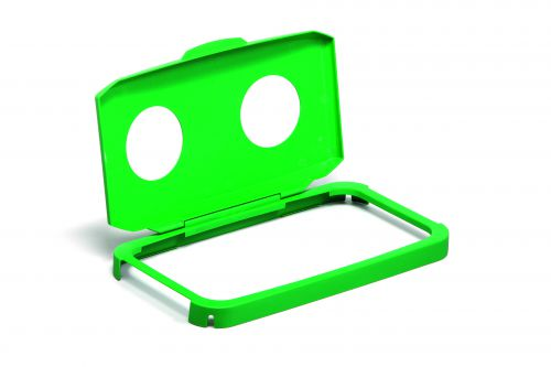 Durable DURABIN 60 Hinged Lid with Two Holes for Cans/Bottles Green