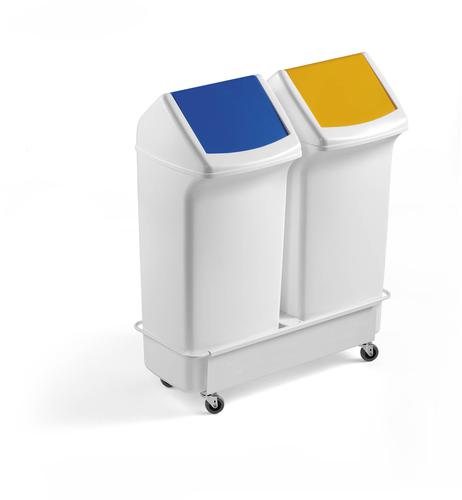 Durable DURABIN Trolley for 2x40 Litre Square Bins Duo White
