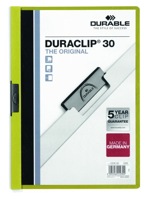 Durable Duraclip Folder 3mm Green 2200/05