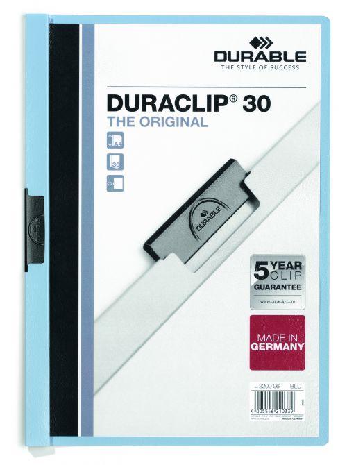 Durable Duraclip 30 Report File 3mm A4 Blue 220006 (PK25)