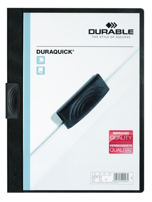 Durable Duraquick Clip Folder A4 Black (Pack of 20) 2270/01
