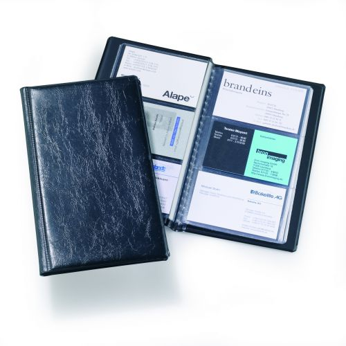 Durable Visifix Business Card Album Capacity 72 Black Ref 2400/01