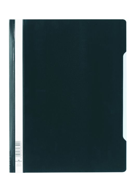 Durable Clear View Report Folder Extra Wide A4 Black (Pack 50) 257001