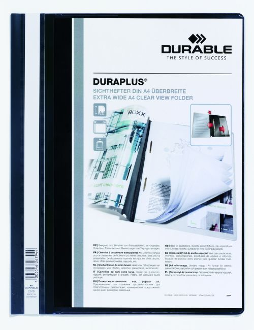 Durable Duraplus Quotation Filing Folder with Clear Title Pocket PVC A4+ Black Ref 2579/01 [Pack 25]