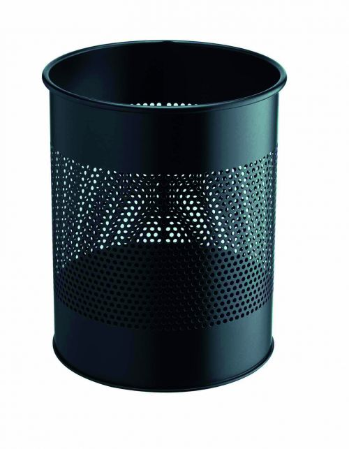 Durable Metal Waste Bin 15 litre with Perforated Ring Black