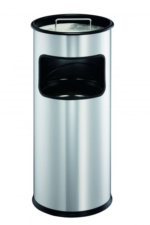 Durable 17 Litre Waste Bin Metal with 2 Litre Ashtray Round Silver 333023