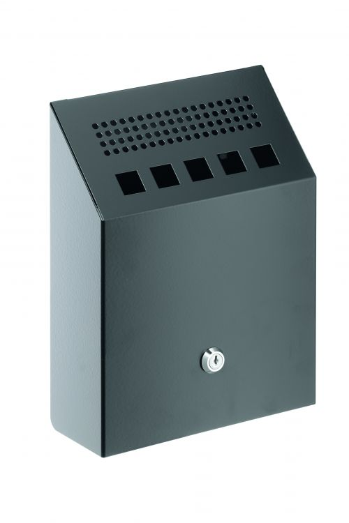 Durable Ash Bin Wall-mounted Capacity of 2.5 Litres 205x80x275mm Charcoal Ref 3333/01