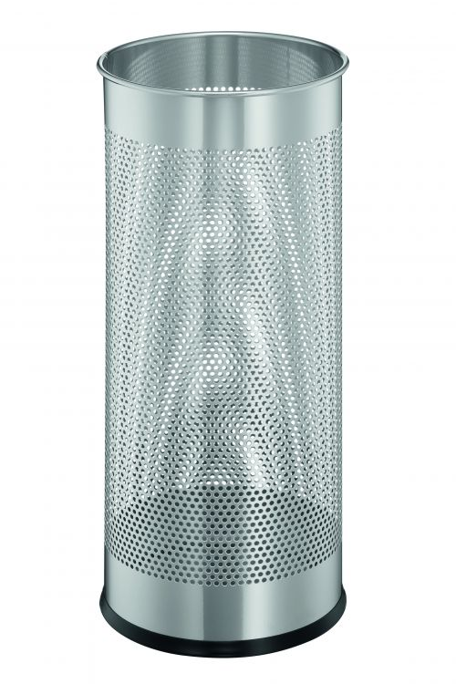 Durable Umbrella Stand Tubular Steel Perforated 28.5 Litre Capacity 280x635mm Silver Ref 3350/23