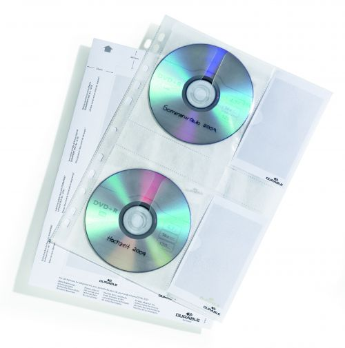 Durable CD and DVD Pocket for A4 Index Ring Binder Capacity 4 Disks Clear Ref 522219 [Pack 5]