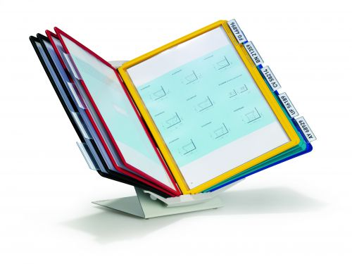 Durable Pro 10 Vario Display System Desk or Wall Mounting 10 Panels A4 Assorted 557900