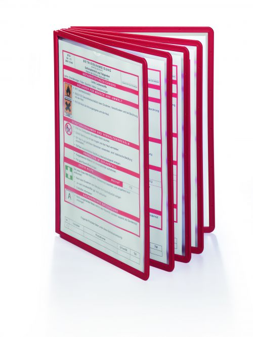 Durable Sherpa Display Panel Clear Coloured Flexible Frame A4 Red 560603 [Box 10]