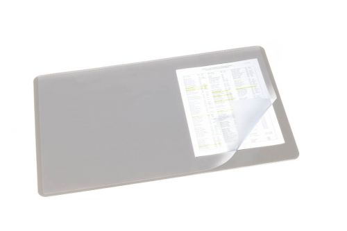 Durable Desk Mat with Clear Overlay 40 x 53cm Grey