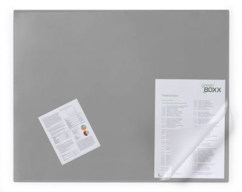 Durable Desk Mat with Clear Overlay 65 x 52cm Grey