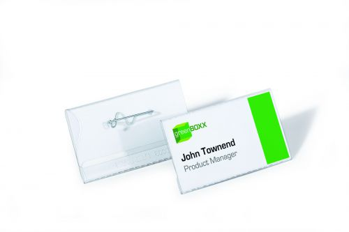 Durable Pin Name Badge 40x75mm Transparent (Pack of 100) 8008