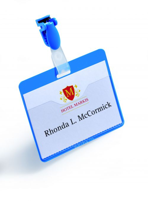 Durable Name Badge with Clip 60x90mm Blue 810606 (PK25)