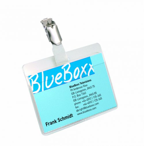 Durable Name Badge with Clip 60x90mm Transparent 8106 (PK25)