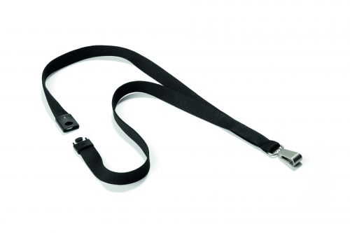 Durable Soft Textile Lanyard 15mmx440mm with 12mm Metal Snap Hook Black Ref 812701 [Pack 10]